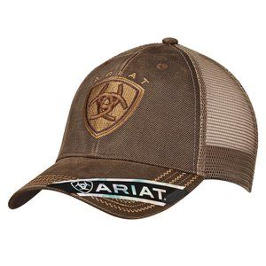 Ariat Men's Brown Oilskin Baseball Cap